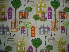 "SANDERSON CURTAIN FABRIC  ""Jubilee Square"" 5.3 METRES BLACKCURRANT & ORANGE"