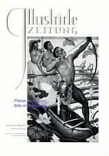 Exotic world German art print 1932 by Besslern Roth South Seas hunt nude canoe