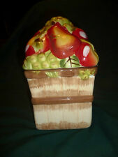 APPLE AND GRAPES COOKIE OR TREAT JAR, MARKED  ALCO INDUSTRIES INC  SMALL SIZE