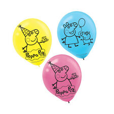"6 Peppa Pig Cartoon Birthday Party 12"" Printed Latex Balloons"