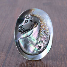 g0596 40mm Chatoyant Shell cameo horse pendant bead
