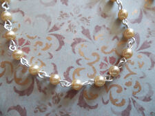 Bead Chain - Cream 4mm Glass Pearls on Gold Beaded Chain - Qty 18 inch strand