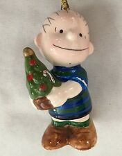 "PEANUTS 2 3/4"" LINUS in With Christmas Tree Ornament Figurine"