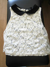 Ladies TOPSHOP Cream Flower Lace Crop Top Blouse SIZE 10 Boho Summer Short Shirt
