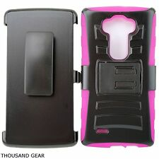 For LG G Vista VS880 Protector Armor Cover Phone Case Belt Clip Holster Pink