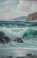 "Listed William Blackman Hawaii Seascape ""Blue Pacific"" Crashing Waves Painting"
