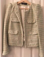 NWOT $190 Zara Woman Knitted Tweed Puff Sleeves Blazer/ Jacket Size M