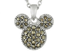 "Disney Authentic Marcasite Mickey Mouse Face Pendant with 18"" Rolo chain"
