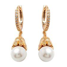 Banquet Jewelry Earrings 24K Gold Filled Pearl C.Z Stone Women's Hoop Earrings
