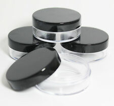 3 x 20mL Empty COSMETIC PLASTIC JARS POTS with BLACK SCREW LIDS