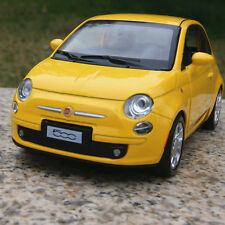 FIAT 500 Alloy Diecast Model Cars 1:28 Sound&Light Yellow Toys Collection&Gifts