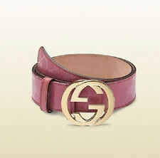 NEW Gucci Imprime GG Canvas Belt Interlocking G Buckle 90/36 Pink 114876