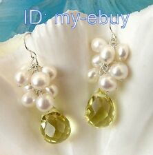 White Baroque Pearl Drip Pear Faceted Yellow Crystal Earrings Silver Hook