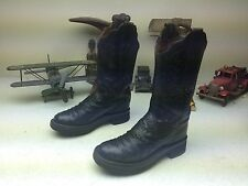 MADE IN USA BLACK OSTRICH LEATHER LUCCHESE DISTRESSED WESTERN COWBOY BOOTS 5 B