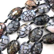 "28-30mm faceted black dragon vein agate barrel beads 8"" strand 6 pcs"
