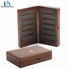 Maxcatch Wooden Fly Fishing Box Pocket Size Double Side Slit Foam Tackle Case