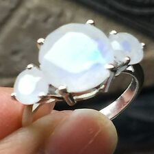 Genuine  Rainbow Moonstone 925 Solid Sterling Silver Solitaire Ring sz 6.75