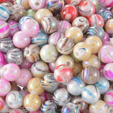 """300PCs Acrylic Spacer Beads AB Color Stripe Pattern Round Mixed 8mm( 3/8"""")Dia."""