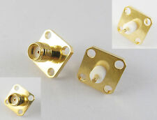 10x SMA Female Jack Chassis Panel Mount 4 Hole PTFE RF Solder Connector Adapter
