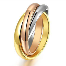 Silver/Gold 316L Stainless Steel Triple Tone Links Band Tri-Roll Ring Size 6-12