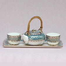 Thai Benjarong Porcelain Pottery 1Tea Pot, 2Cups and 1Saucer Hand Painted BB-17