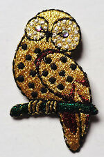Iron On Patch Applique - Owl Gem Eye Metallic