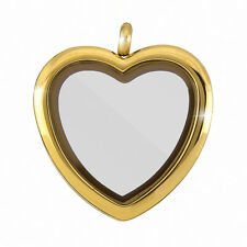 Stainless Steel Locket Heart Shaped Magnetic Pendant 33mm Gold Plated (H89/2)