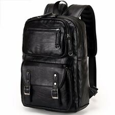 Men's Cowhide Leather Backpack Large Shoulders Bag Laptop Handbag Travel Outdoor