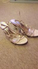 Ladies Strappy Beige/Gold Shoes Size 4