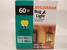 Yellow Bug Light Bulb 60W Watt Sylvania 2 Pack Outdoor Porch Non-attracting 60