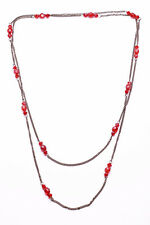 BLOOD ORANGE 3 FACETED BEAD PUNCTUATED FINE GUNMETAL LONG CHAIN NECKLACE (ZX39)