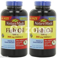 400 Nature Made Fish Oil 1200 mg Omega 3 360mg - 2 Bottles x 200  = 400 Tablets