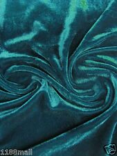 4Way Stretch Velvet Curtain Clothing Drapery Fabric Sea Blue by Meters