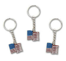 3 Pack ** USA American Flag Patriotic All Metal Keychain / Key Ring