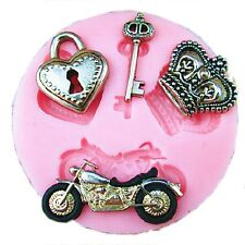 Heart Motorcycle Key Crown Cake Fondant Chocolate Cake Mold Baking Mould DIY