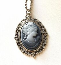Neo-Victorian Gothic Cameo Necklace Steam-punk Woman Silver gray