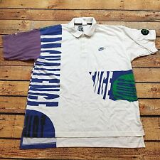 90s VTG NIKE CHALLENGE COURT Andre Agassi AIR All Over Print TECH L Polo Shirt