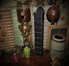 Primitive Antique Vtg Style Tall Wood Black Spice Rack Apothecary Cabinet Bin