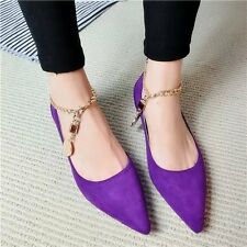 Sexy Womens Pointed Toe Ballet Flat Ankle Metal Chain Loafer Casual Pumps Shoes