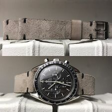 Gray Suede Leather Strap bracelet 20 to 16 mm for vintage seamaster valjoux 72