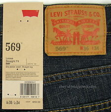 Levis 569 Jeans New Mens Loose Straight Sz 36 x 34 Dark Chipped Levi's NWT #271