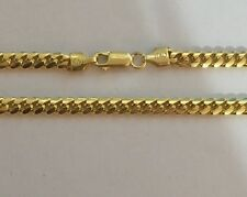 Sterling Silver 925 Yellow Gold Plated Cuban Necklace 26 inch 4mm 26.4 grams