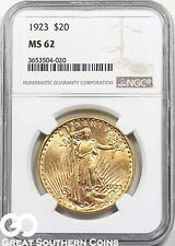 1923 Double Eagle, $20 Gold St Gaudens, NGC MS 62 ** Lustrous Beauty, Free S/H!
