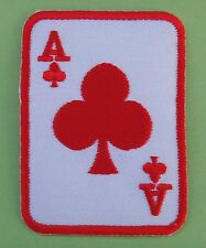 Ecusson patch brodé thermocollant carte à jouer, poker, As de Trèfle-rouge