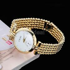 New Women's Gold Stainless Steel Band Analog Quartz Lady Wrist Watch Jewelry