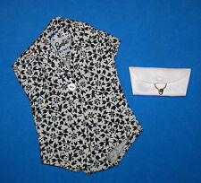 Vintage Barbie Pak Black & White Floral Print Plain Blouse White Clutch 1962