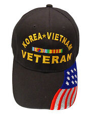 Korea Vietnam Veteran Ribbon w/ US Flag Bill Cap 078SF-BLK