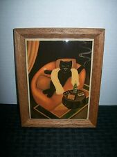 Vintage Framed Tile Art Bourgeois Feline 1920-30's Theme Champagne & Chocolates