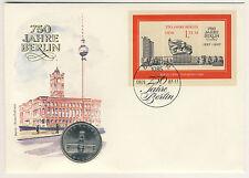 DDR NUMISBRIEF 5 Mark 1987 ROSSA Municipio Berlino