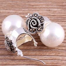 Vintage Marcasite Women's 12mm White Shell Pearl 925 Sterling Silver Earrings